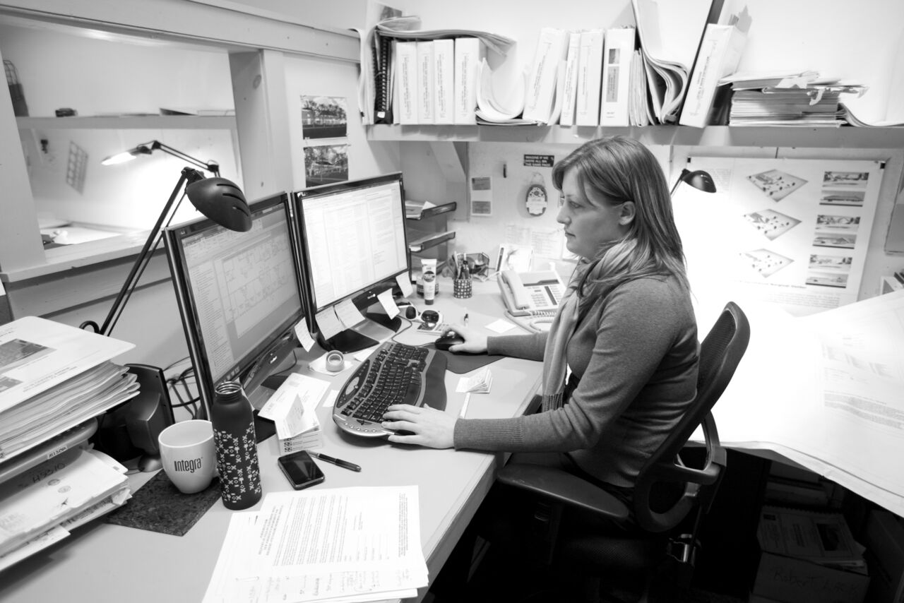 This is a picture of Kimberly Kremer at work. She is a successful graduate of the Drafting CAD Technology Program.