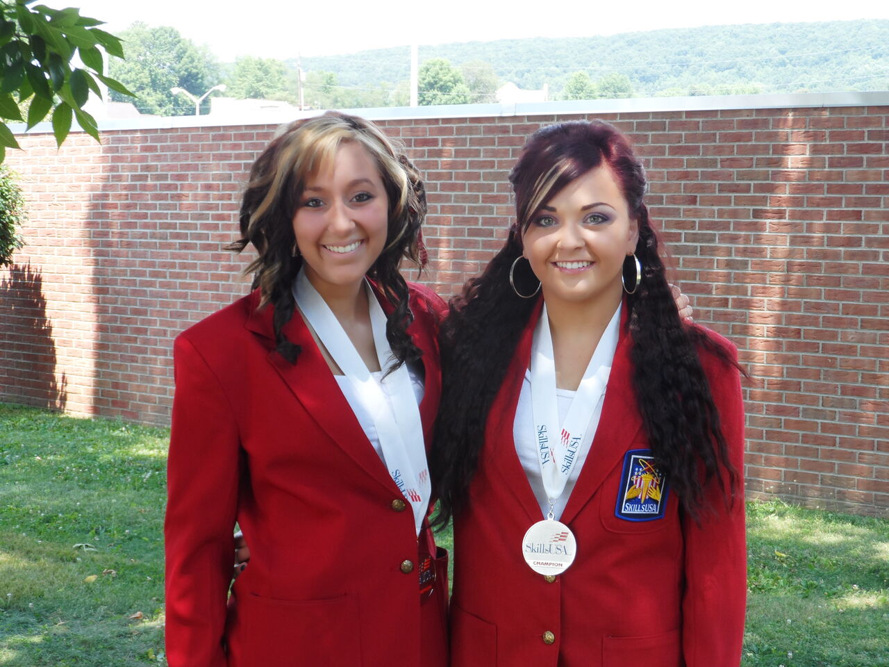 Skills USA Esthetics Silver Medal Winners: Model, Jenna Swinehart and Competitor, Alexa Krautheim.