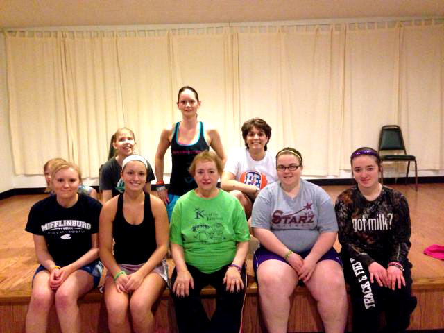 Back row: Tonya Struble, Jessica Brouse Johnson (Zumba Instructor), Robin Harvey; Front Row : Tiffany Shaffer(Student), Nicole Brouse(Student), Mary Brouse, Miranda Mitchell(Student), & Jessica Kaler(Student)