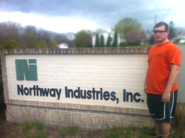 Dustin Higgins on co-op at Northway Industries, Inc.