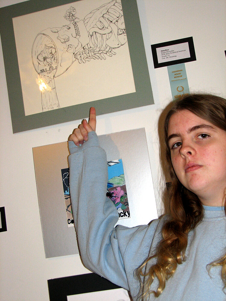 "Kayla Reynolds, an Advertising Art & Design student at SUN Area Technical Institute, received an honorable mention award at the Packwood House Museum's 35th annual Scholastic Arts Exhibit for an ink drawing titled ""Overflow."""