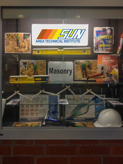 The Masonry program display at Midd-West High School
