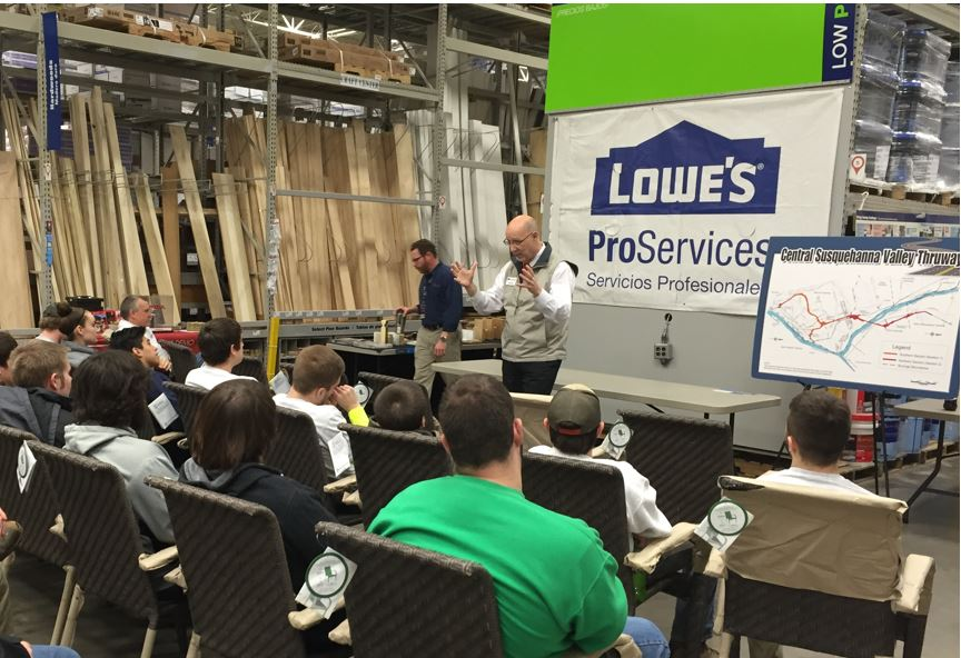 Bob Garrett with the Chamber of Commerce talks to SUN Tech students at the Selinsgrove Lowes